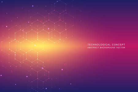 Abstract technological and scientific background with hexagons. Structure molecule and communication. Science, technology and medical concept. Vector illustration.