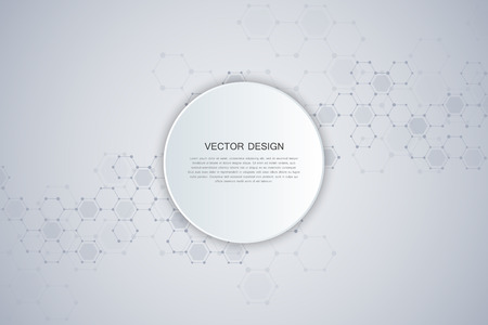 Abstract technological and scientific background with hexagons. Structure molecule and communication. Science, technology and medical concept.