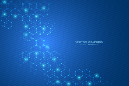 Geometric abstract background with hexagons. Structure molecule and communication. Science, technology and medical concept.  イラスト・ベクター素材