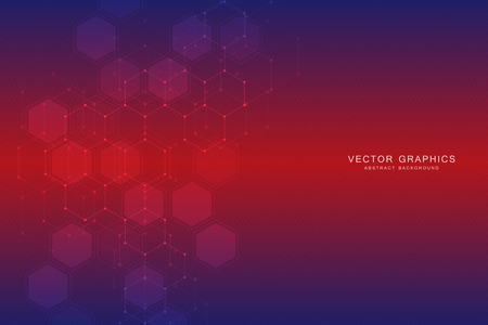 Abstract technological and scientific concept background with hexagons.