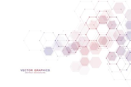 六角形を持つ幾何学的抽象的な背景。構造分子と通信。科学、技術、医療の概念。ベクトルイラスト。