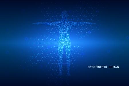 corps humain avec des molécules sur fond abstrait technologique