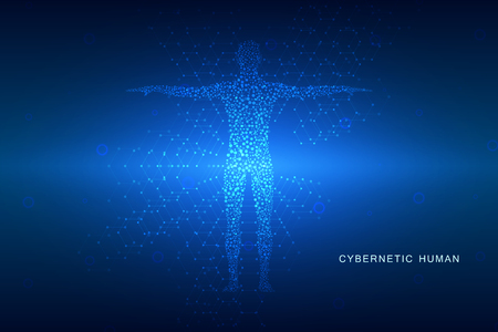 Human body with molecules on technological abstract background