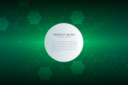 Abstract technological and scientific background with hexagonal molecules. Illustration