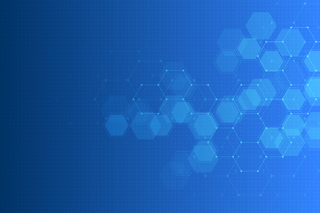 Abstract technology background with hexagons and molecules.