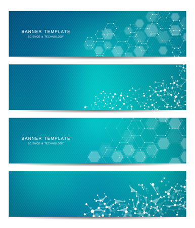 Technological and scientific banners with hexagonal molecule.