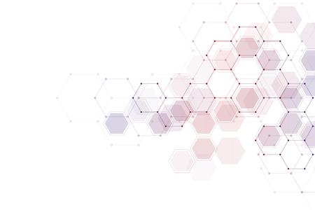 Sfondo astratto geometrico con molecola esagonale.