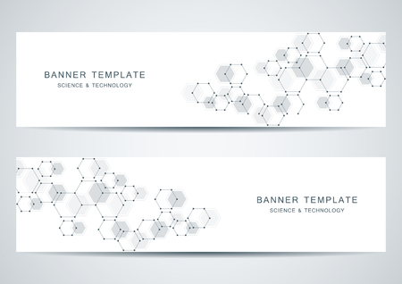 Technological and scientific banners with hexagonal molecule. Vector illustration.