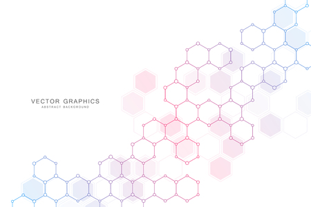 Contexte scientifique abstrait avec des hexagones et des molécules.