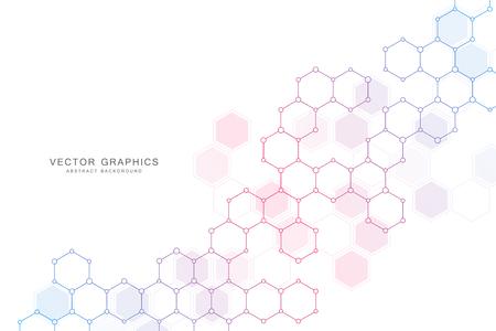 Fondo de ciencia abstracta con hexágonos y moléculas.