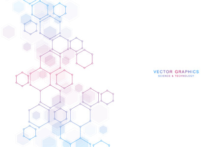 Abstract science background with hexagons and molecules.