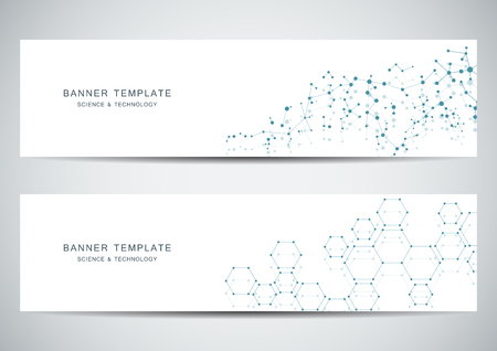 Technological and scientific banners with molecular structure background. Vector illustration.