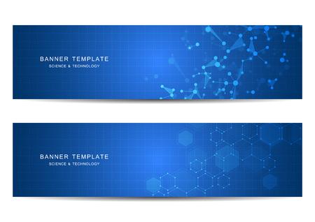Technologische en wetenschappelijke banners met moleculaire structuurachtergrond. Vector illustratie
