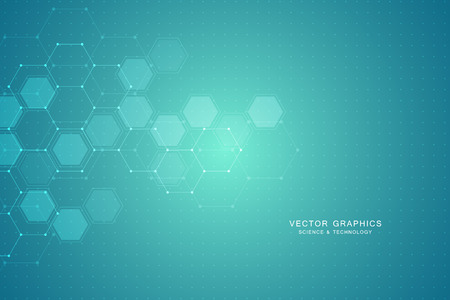 Fondo abstracto de ciencia con hexágonos y moléculas.