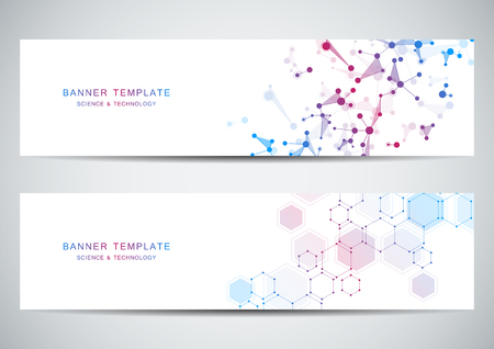 Technological and scientific banners with molecular structure background.