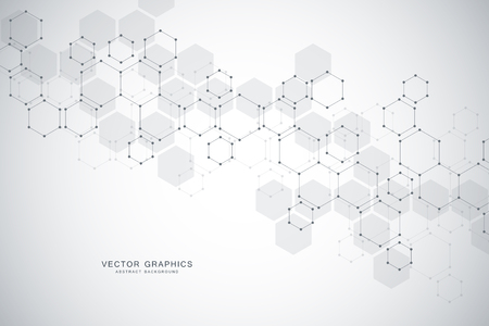 Science abstract background with hexagons and molecules.