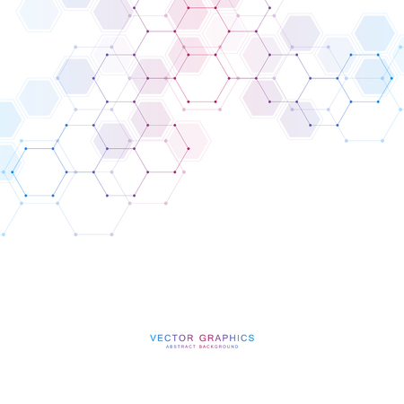 Medical technology or science vector background. Molecular structure and chemical compounds. Vectores