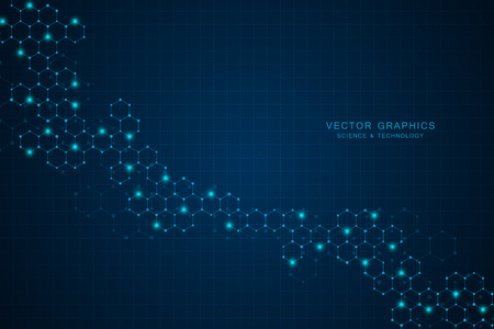 Technology background with connected hexagons.