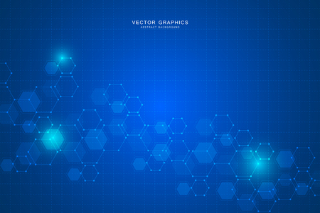 Technology background with hexagons. Molecular structure and chemical compounds