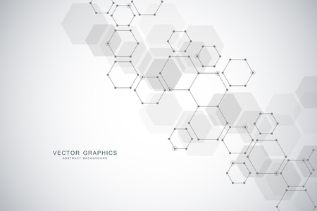 Medical technology or science vector background. Molecular structure and chemical compounds Illustration