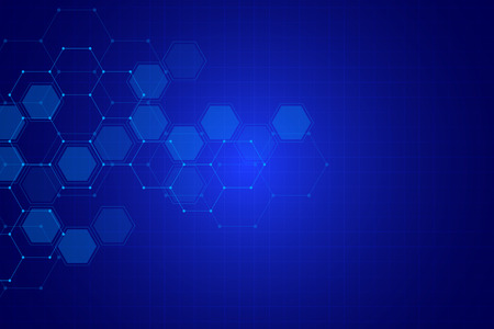 Science background with hexagons design. Geometric abstract background with molecular structure.