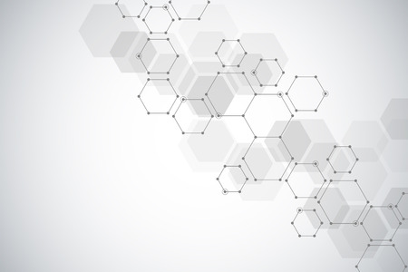 Medical background or science design. Molecular structure and chemical compounds. Geometric and polygonal abstract background. Stock Photo