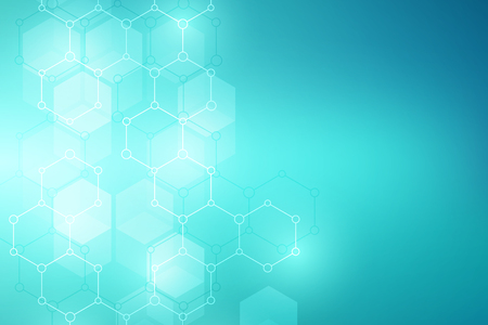 Molecular structure background. Abstract background with molecule DNA. Geometric shape with hexagons. Stock Photo