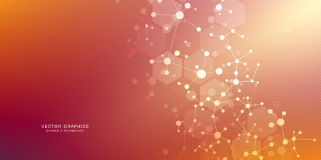 Molecular structure background. Abstract background with molecule DNA. Medical, science and digital technology with connected lines and dots.