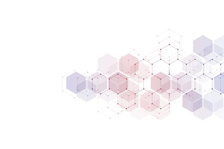 Fondo geométrico abstracto. Diseño de hexágonos para tecnología médica, científica y digital. Estructura molecular y molécula de adn.