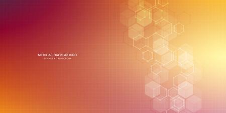 医療、科学、デジタル技術のための六角形の設計。分子構造と化学化合物を持つ幾何学的抽象的な背景。