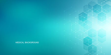 Sechseckdesign für Medizin, Wissenschaft und digitale Technologie. Geometrischer abstrakter Hintergrund mit molekularer Struktur und chemischen Verbindungen.