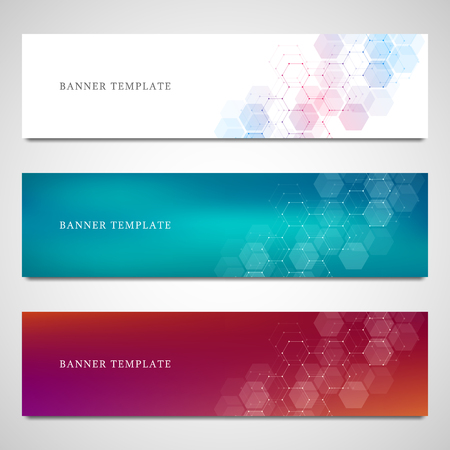 Science, medical and digital technology header or banners. Geometric abstract background with hexagons design. Molecular structure and communication vector illustration. Stock Illustratie