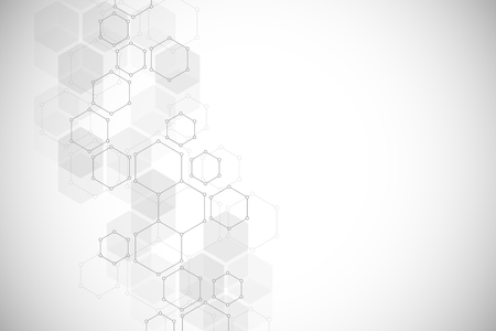 Hexagonal molecular structure for medical, science and digital technology design. Abstract geometric vector background. Vectores