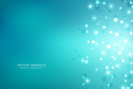 Abstract vector background with connected lines and dots. Molecular structure or molecule DNA. Illustration