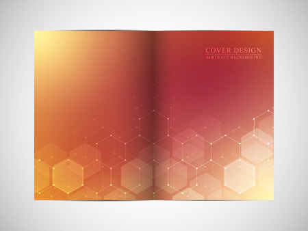 Bi-fold business brochure template with abstract background. Geometric graphics and connected lines with dots. Medical, technological and scientific concept. Vector illustration.