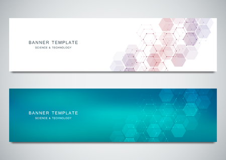 Vector banners for medicine, science and digital technology. Geometric abstract background with hexagons design. Molecular structure and chemical compounds. Vectores