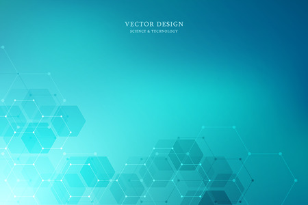 Vector medical background with hexagons shapes. Geometric abstract background for medical, science and digital technology design 版權商用圖片