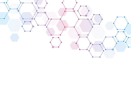 Geometric background from hexagons. Abstract molecular structure and chemical elements. Medical, science and technology concept. Stock Photo