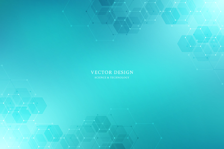 Vector medical background from hexagons. Geometric elements of design for modern communications, medicine, science and digital technology. Hexagon pattern background Illustration