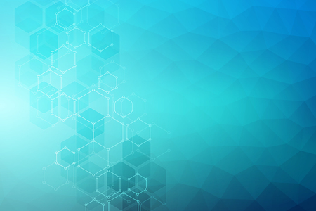 Vector geometric background from hexagons. Abstract molecular structure and chemical elements. Medical, science and technology concept.