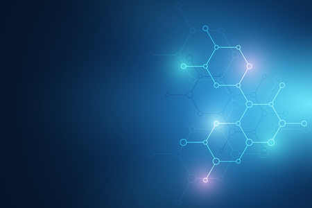 Abstract molecular structure and chemical elements. Medical, science and technology concept. Vector geometric background from hexagons Ilustração Vetorial