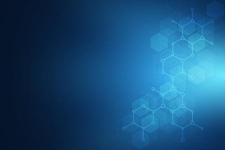 Estructura molecular y elementos químicos. Fondo abstracto de moléculas. Concepto de ciencia y tecnología digital. Ilustración vectorial para diseño científico o tecnológico.
