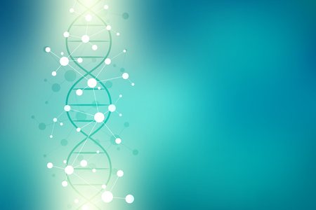 DNA helix and molecular structure. Science and technology concept with molecules background Vector Illustration