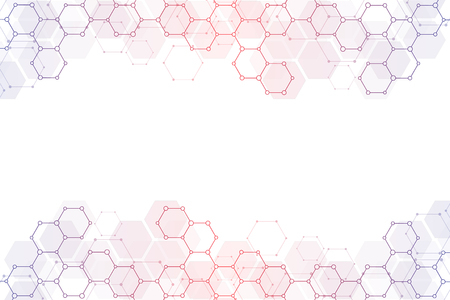 Molecular structure and chemical elements. Abstract molecules background. Science and digital technology concept. Vector illustration for scientific or technological design