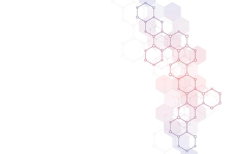 Budowa molekularna i pierwiastki chemiczne. Cząsteczki streszczenie tło. Koncepcja nauki i technologii cyfrowej. Ilustracja wektorowa do projektowania naukowego lub technologicznego.