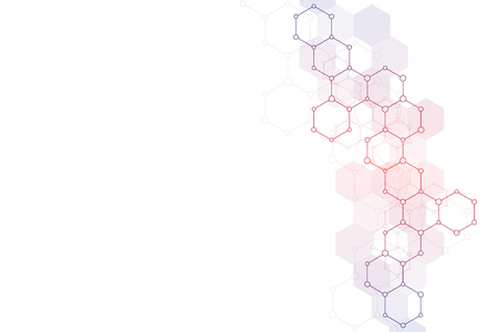 Molecular structure and chemical elements. Abstract molecules background. Science and digital technology concept. Vector illustration for scientific or technological design.