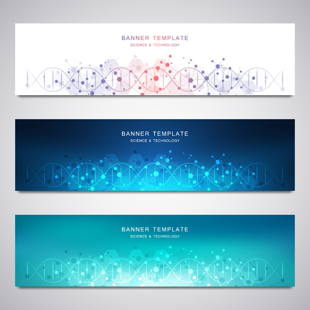 Scientific and technological vector banners. Abstract background with molecular structures.