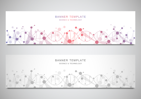 Vector banners and headers for site with DNA strand and molecular structure. Genetic engineering or laboratory research. Abstract geometric texture for medical, science and technology design Stock Illustratie