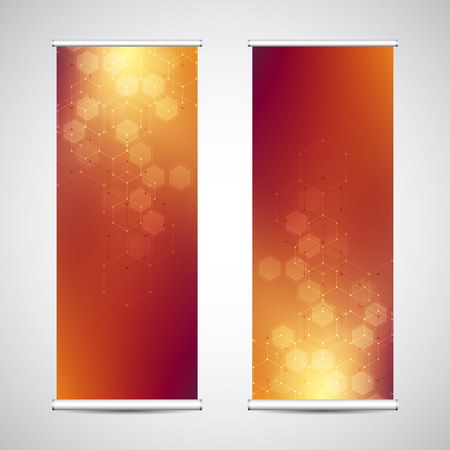 Roll up banner stands with abstract geometric background of hexagons pattern. Hi-tech digital background. Vector illustration for technological or scientific modern design