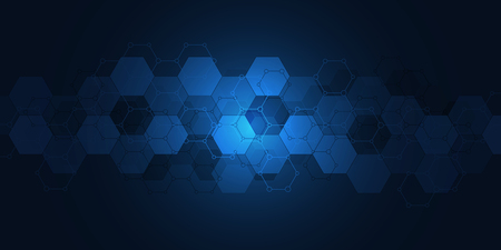 Abstract technology background with hexagons pattern. Hi-tech digital background. Vector illustration for technological or scientific modern design Stock Illustratie